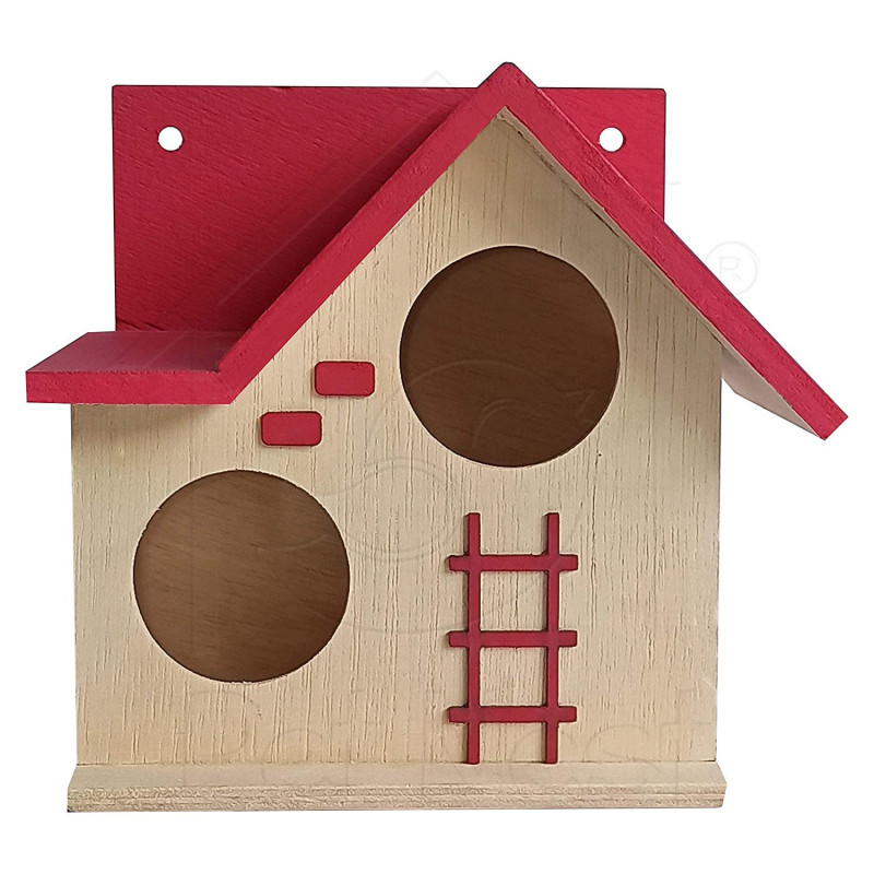 BacktoNest Wood House for Small Animals Hide House Hammock Tomato Pink - DECO6
